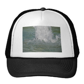 Splashes of fountain water in a sunny day trucker hat