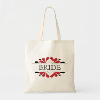 Splashes of Red and black BRIDE Tote Bag