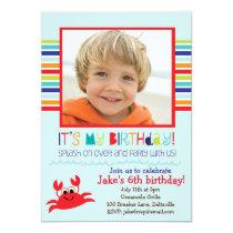 Splashing Crab Summer Birthday Party Invitation