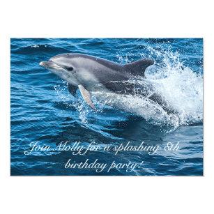 Dolphin birthday party invitations announcements zazzle splashing dolphin birthday invitations filmwisefo