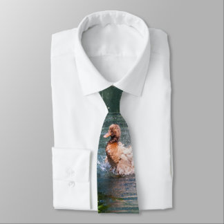 Splashing duck in a pond tie