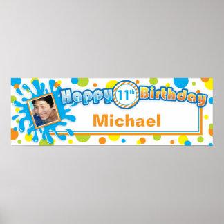 Splashing Fun in the Sun Birthday Photo Banner Poster