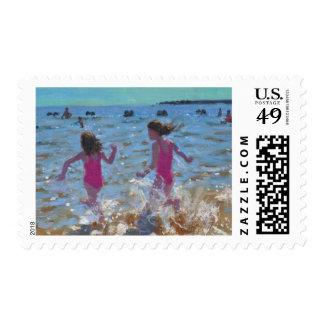 Splashing in the sea Clacton. 2014 Postage Stamp
