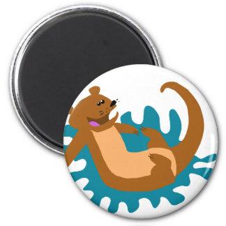Splashing Otter 2 Inch Round Magnet