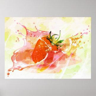 Splashing strawberry artistic design poster