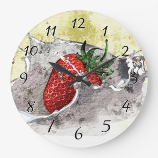 Splashing Strawberry Large Clock