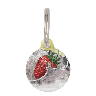 Splashing Strawberry Pet Tag