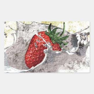 Splashing Strawberry Rectangular Sticker