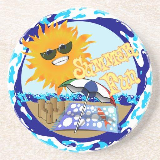 Splashing Summer Fun at the Beach Drink Coasters