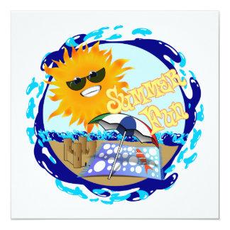 Splashing Summer Fun at the Beach 5.25x5.25 Square Paper Invitation Card