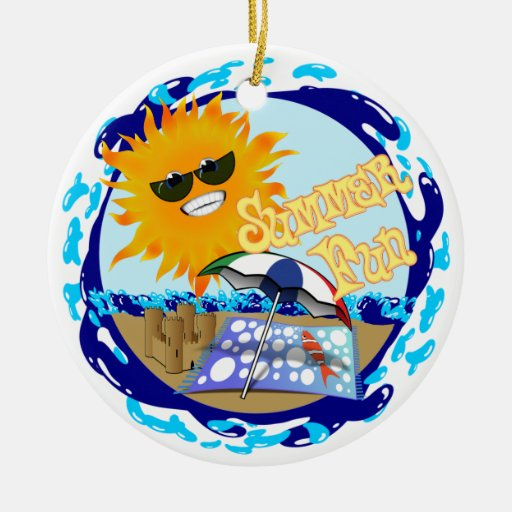 Splashing Summer Fun at the Beach Christmas Ornament