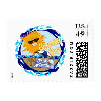 Splashing Summer Fun at the Beach Postage Stamps