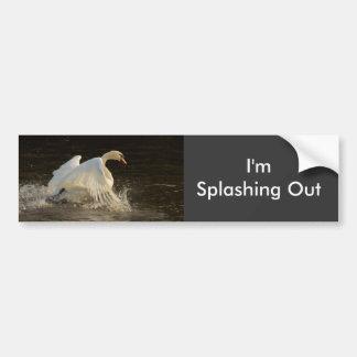Splashing Swan Car Bumper Sticker