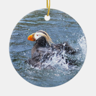Splashing Tufted Puffin Christmas Tree Ornament