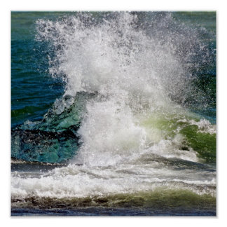 Splashing water in the sea poster