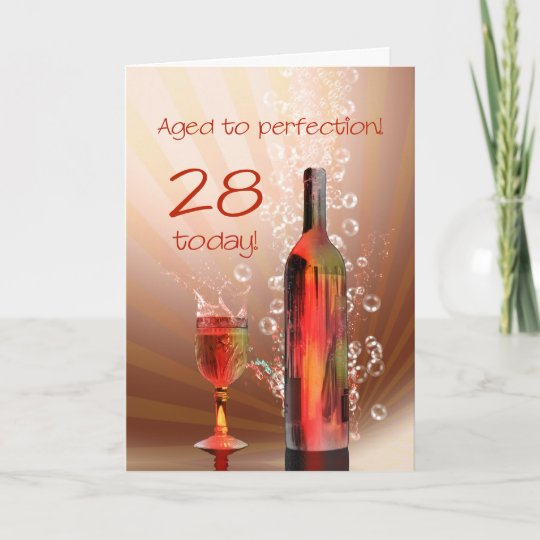 Splashing Wine 28th Birthday Card Zazzle