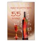 Splashing wine 55th birthday card