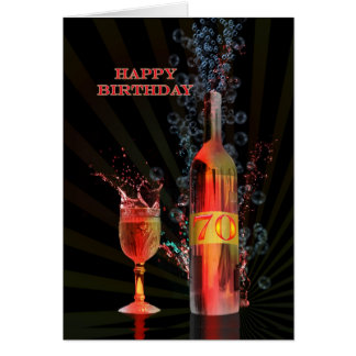 Splashing wine 70th birthday card