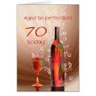 Splashing wine 70th birthday card