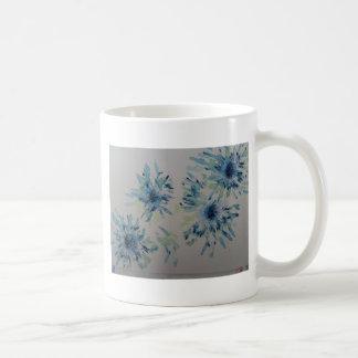 Splashy cobalt  & ice-blue flower heads coffee mug