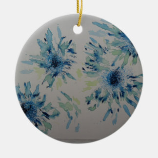 Splashy cobalt  & ice-blue flower heads Double-Sided ceramic round christmas ornament