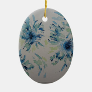 Splashy cobalt  & ice-blue flower heads Double-Sided oval ceramic christmas ornament