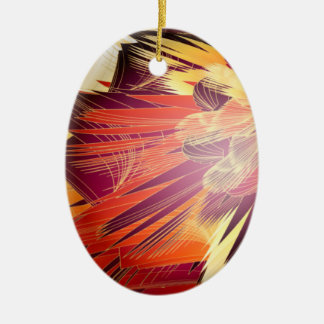 Splashy Colours Double-Sided Oval Ceramic Christmas Ornament