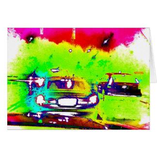 Splashy Drive Cars Abstract Art Photo Blank Inside Card