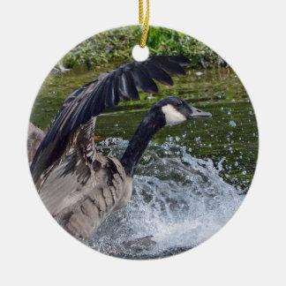 Splashy Landing Canada Goose Ceramic Ornament