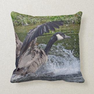 Splashy Landing Canada Goose Throw Pillow
