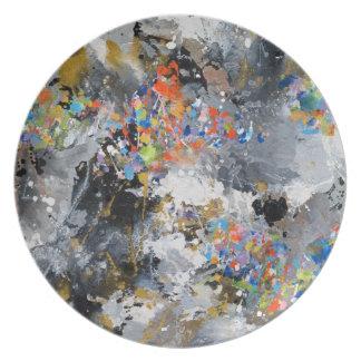 Splashy Paint Abstract Melamine Plate
