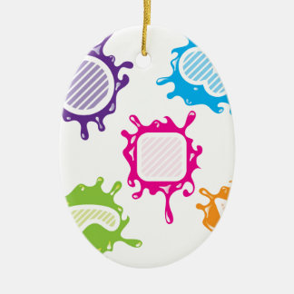 Splashy shapes vector Double-Sided oval ceramic christmas ornament