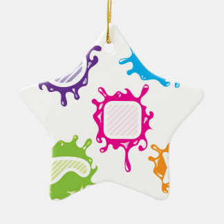 Splashy shapes vector Double-Sided star ceramic christmas ornament