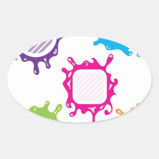 Splashy shapes vector oval sticker