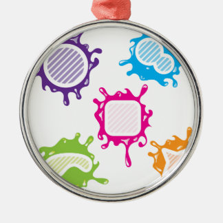 Splashy shapes vector round metal christmas ornament