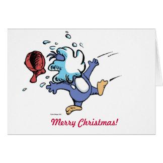 splat de la bola de nieve del pingüino tarjeta de felicitación