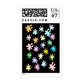 Splat on black stamps