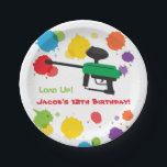 "Splat Paintball Kids Birthday Party Paper Plates<br><div class=""desc"">A matching paper plate design for that kids paintball birthday party! It has the kids version of the paintball gun with colourful splats of paint for background. The amusing text reads &quot;Load Up!&quot; which is a pun wordplay on loading up the paintball gun with paintball pellets with loading up the...</div>"