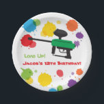"""Splat Paintball Kids Birthday Party Paper Plates<br><div class=""""desc"""">A matching paper plate design for that kids paintball birthday party! It has the kids version of the paintball gun with colourful splats of paint for background. The amusing text reads &quot;Load Up!&quot; which is a pun wordplay on loading up the paintball gun with paintball pellets with loading up the...</div>"""