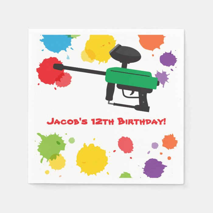 Splat Paintball Kids Birthday Party Paper Supplies Napkin  Zazzle