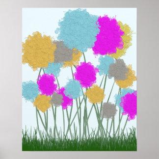 Splat Painted Flower Scene Print
