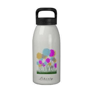 Splat painted flower scene water bottles