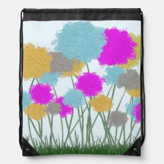 Splat Painted Flowers Drawstring Backpack