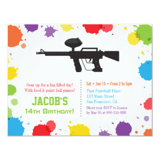 Splat Paints Rifle Paintball Birthday Party Card