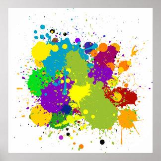 Splats manchado de tinta coloreado poster