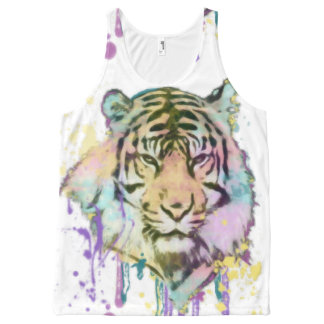 Splatted Tiger, coloured tiger All-Over-Print Tank Top
