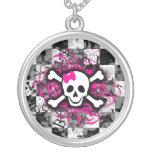Splatter Girly Skull Necklace