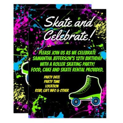 Glow In The Dark Skating Party Invitation Zazzle Com