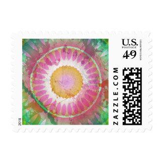 Splatter Grunge Multi-Color Kaleidoscope Postage Stamp