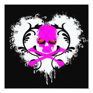 Splatter Heart Skull Gothic Birthday Invitation